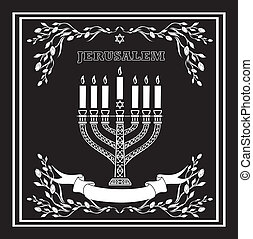 Jerusalem holiday vector background with menorah