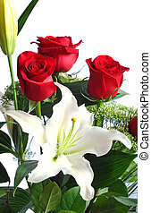Bouquet of red roses and white lily