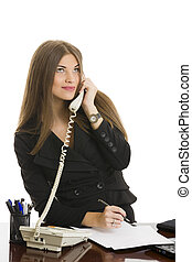 Businesswoman answering the phone