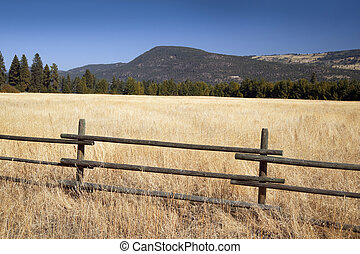 Field in Okanagan -fence in the field and mountains