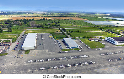 Airport with small airplanes