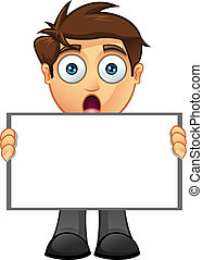 Business Man - Blank Sign - 7 - A vector illustration of a...
