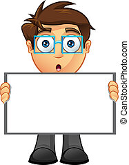 Business Man - Blank Sign - 9 - A vector illustration of a...