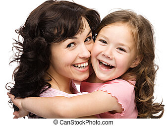 Portrait of happy daughter with her mother - Portrait of...
