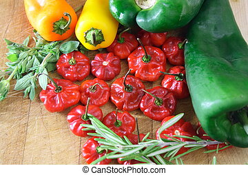 Peppers - Compilation of poblano pepper, scotch bonnet,...