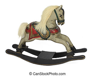 Wooden rocking horse isolated - Hand carved wooden rocking...