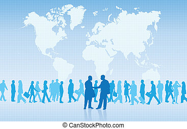 International Trade - Silhouettes of two businessmen shaking...
