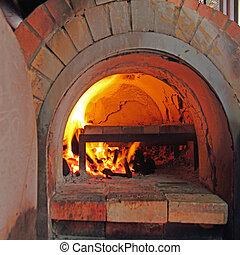 ladrillo, horno, cocina