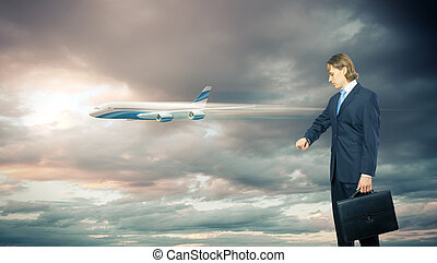 Business travelling collage with a plane - Businesman and...