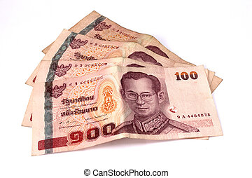 hundred baht banks, thai money on white background