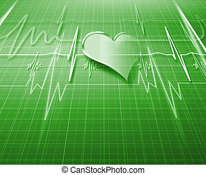 Image of hearbeat - Image of heart beat picture on a colour...