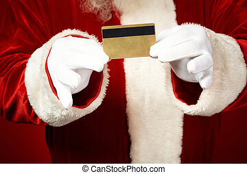 Showing card - Photo of Santa Claus gloved hands holding...