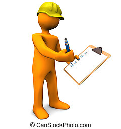Quality Control - Orange cartoon character with clipboard...