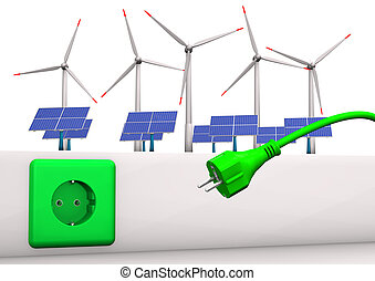 Green Energy Connector - Green socket with green plug, solar...