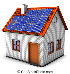 House Solar Panels - House with solar panels on the white...