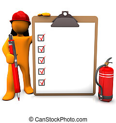 Fireman Clipboard - Orange cartoon character as fireman with...
