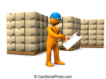 Warehouse Check - Orange cartoon character with clipboard...
