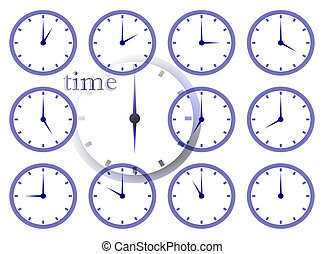 time passing multiple clock face illustration