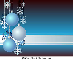 Blue Christmas card with Christmas balls and snowflakes