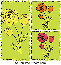 Three icons of roses