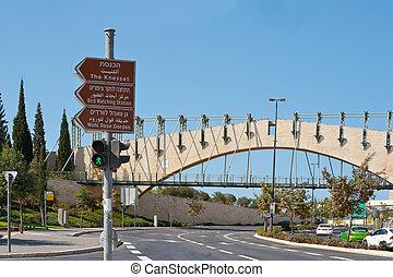 Road Sign the Knesset in Jerusalem, Israel