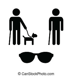 Blind man icons set - guide dog - Blind person icon with...