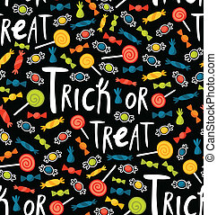 Seamless trick-or-treat pattern with various candies and...