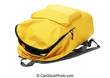 Yellow Backpack - Open Yellow Backpack Lying on White...