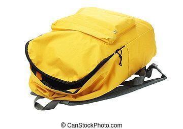 Yellow Backpack - Open Yellow Backpack Lying on White...