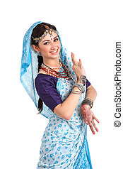 Young girl in the Indian national costume