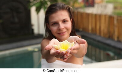 Aroma therapy - Pretty slim woman relaxing in jacuzzi