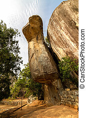 Cobra-shaped rock in Sigiriya palace, Sri-Lanka
