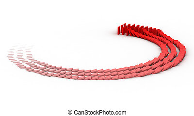 Domino - 3D rendering of falling blocks representing a...