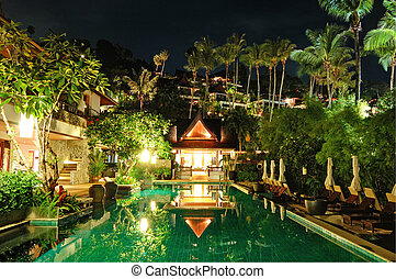 Night illumination at luxury hotel, Phuket, Thailand