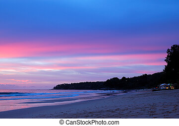 Sunset at the beach of Indian Ocean, Phuket, Thailand