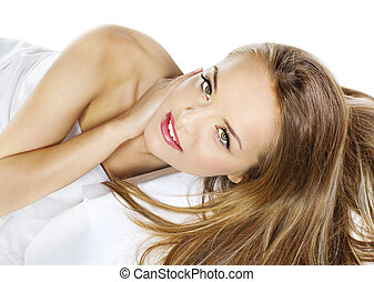 Sensual woman model with straight long blond hair over white