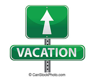 vacation sign illustration design over white background