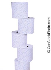 stack of toilet paper rolls, isolated on white background