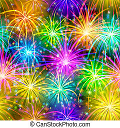 Fireworks, seamless - Firework background seamless of...