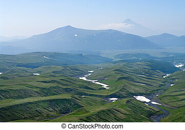 Kamchatka, Far east, Russia,top view from the window of the...
