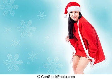 Attractive christmas girl background - photo of attractive...