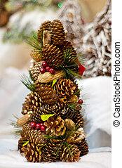 conos, navidad, árbol