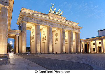 Brandenburg gate at night, Berlin, Germany