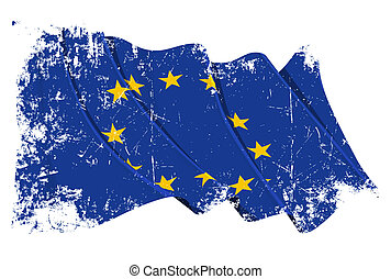 Grange Flag of EU - Grunge illustration of a waving EU flag...