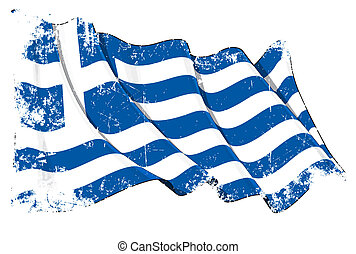 Grunge Flag of Greece - Grunge illustration of a waving...