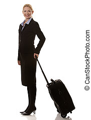 business woman traveling - business woman in her 40s with...
