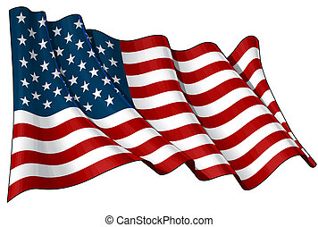 Flag of USA - Illustration of a waving American flag against...