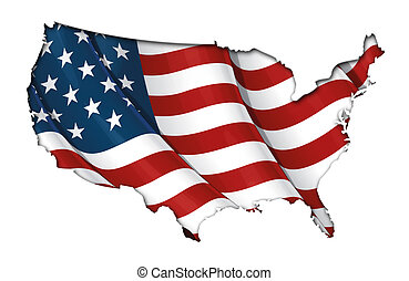 US Flag-Map Inner Shadow Clipping - US map cut-out with the...