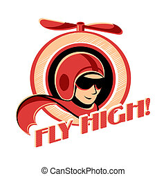 Aviator sticker - Fly high! retro aviator sticker with...