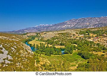 Green valley of Zrmanja river